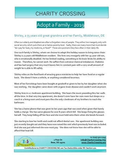 Adopt A Family 2019 - Shirley Story Page 1